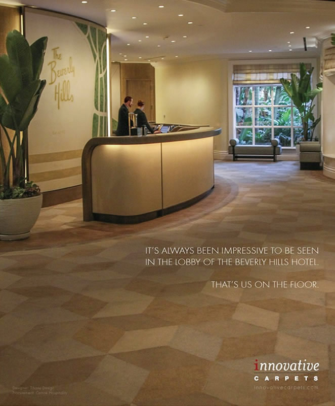 Beverly Hills Hotel Lobby Ad for Innovative Carpets